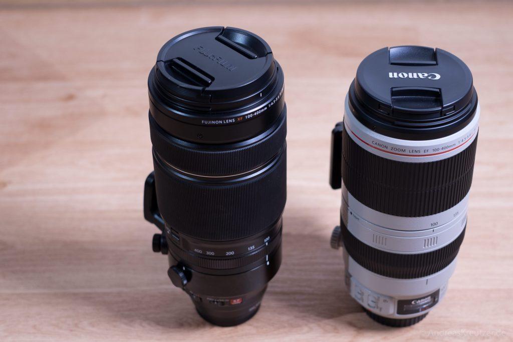 Fujifilm XF100-400mm F4.5-5.6 R LM OIS WR Objektiv vs. Canon 100-400 L