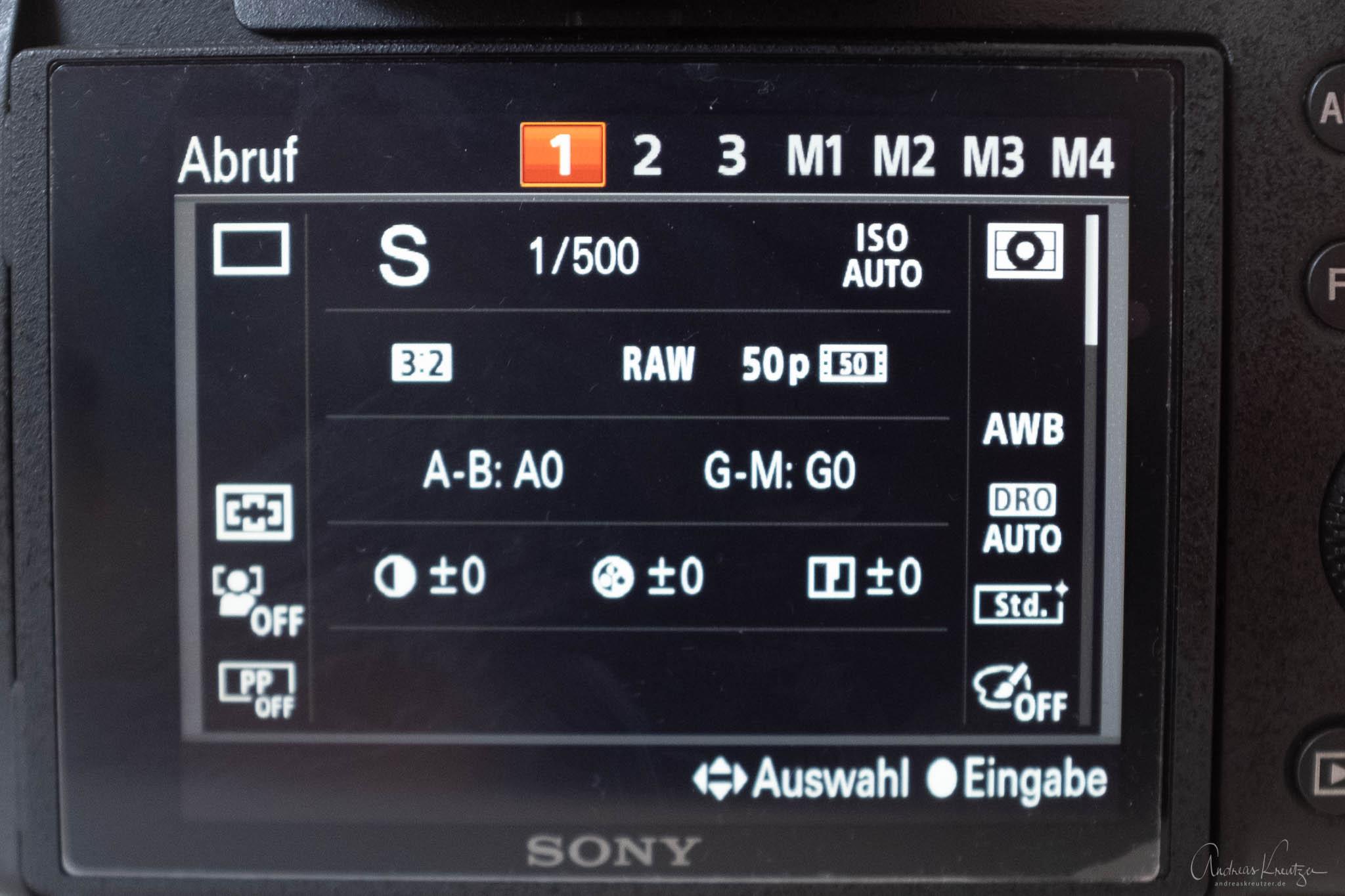 Sony Kameraeinstellungen abrufen
