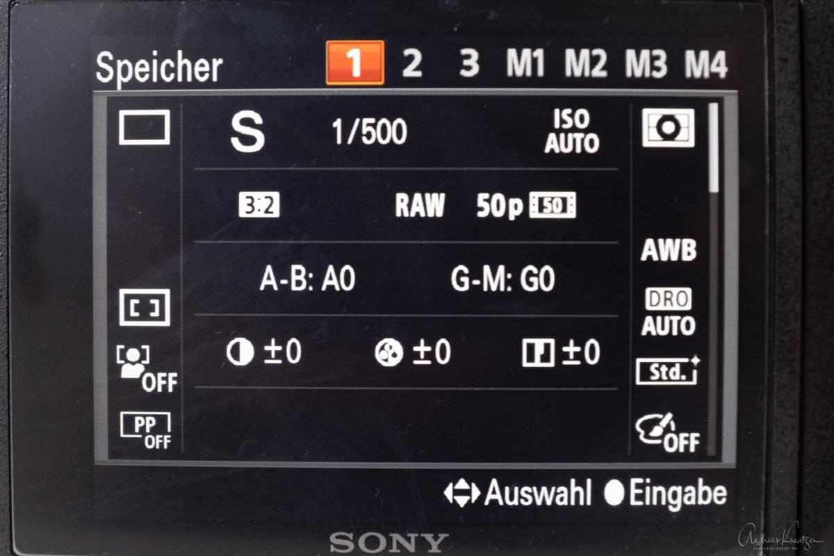 Sony Kameraeinstellungen speichern